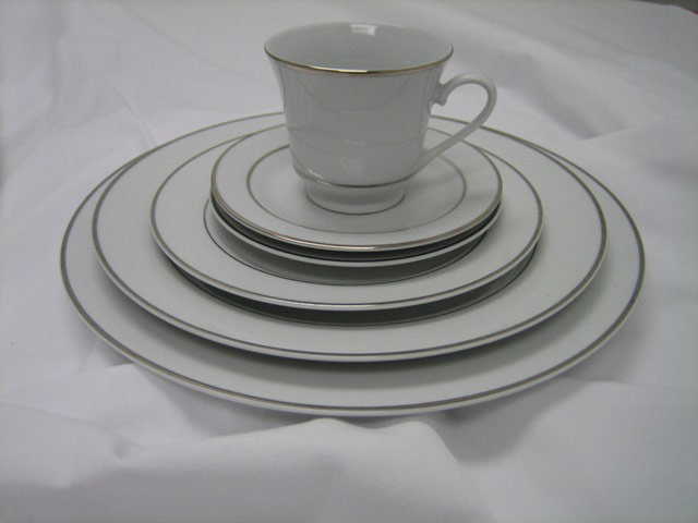 Coffee Cup and Saucer White with Silver Rim image